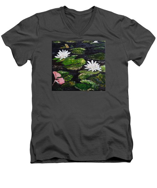 Men's V-Neck T-Shirt featuring the painting Water Lilies I by Marilyn Zalatan