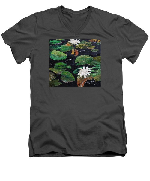 Men's V-Neck T-Shirt featuring the painting water lilies II by Marilyn Zalatan