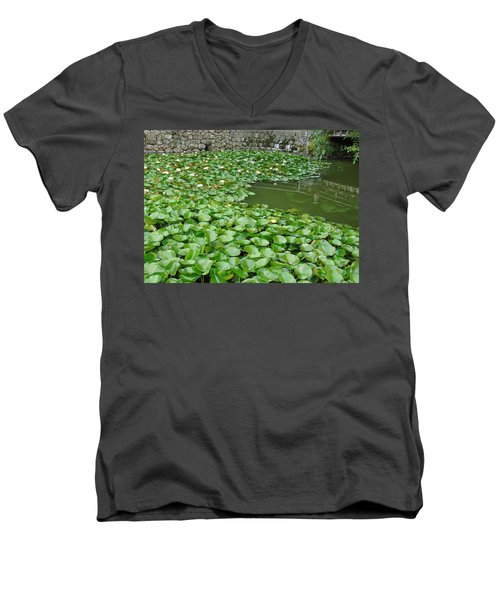 Water Lilies In The Moat Men's V-Neck T-Shirt by Susan Lafleur