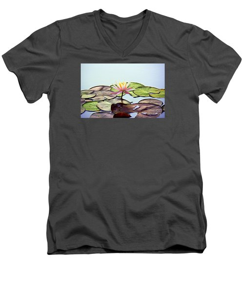 Men's V-Neck T-Shirt featuring the photograph Water Lily Dream by Lisa L Silva