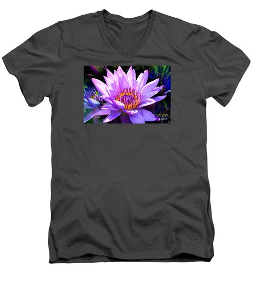 Water Lily In Purple Men's V-Neck T-Shirt by Jeannie Rhode