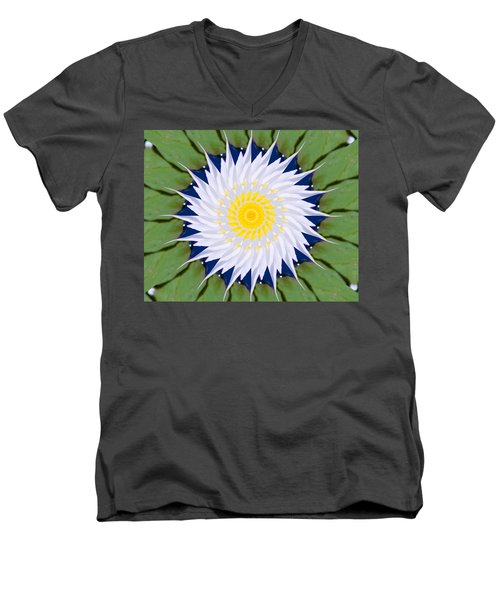 Men's V-Neck T-Shirt featuring the photograph Water Lily Kaleidoscope by Bill Barber