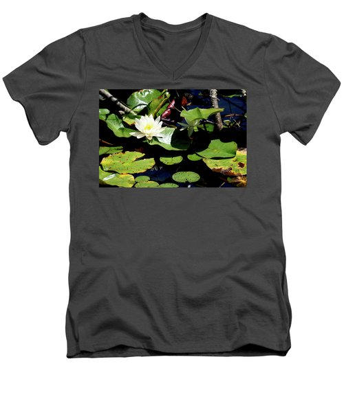 Water Lily Men's V-Neck T-Shirt by Meta Gatschenberger
