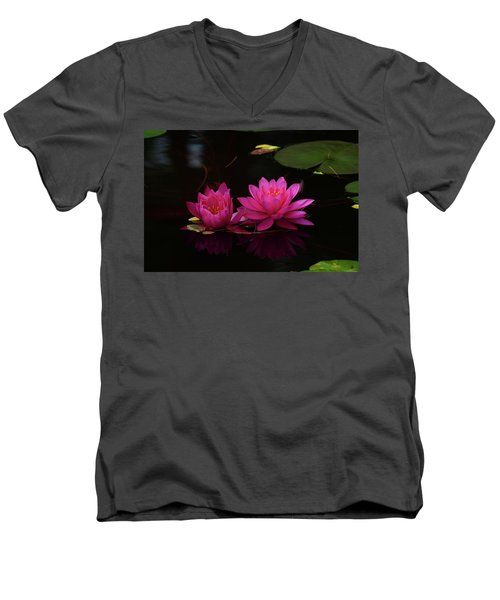 Water Lily Men's V-Neck T-Shirt by Nancy Landry