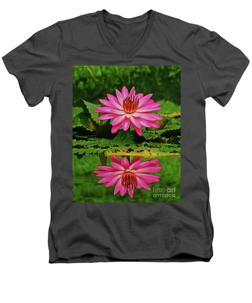 Hot Pink Water Lily Reflection Men's V-Neck T-Shirt by Larry Nieland