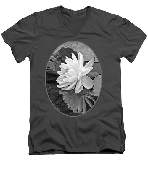 Water Lily Reflections In Black And White Men's V-Neck T-Shirt