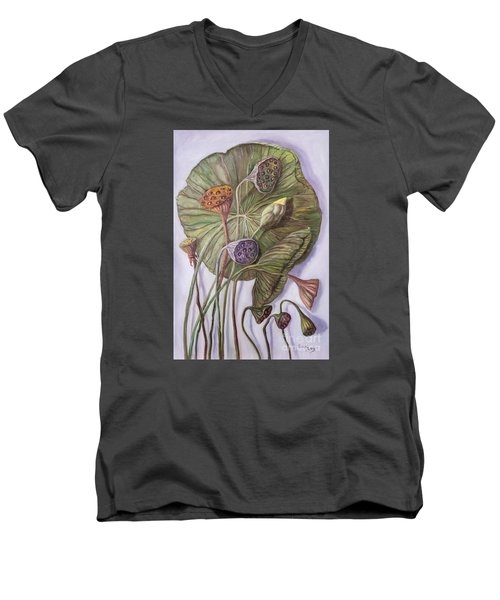 Water Lily Seed Pods Framed By A Leaf Men's V-Neck T-Shirt by Randy Burns