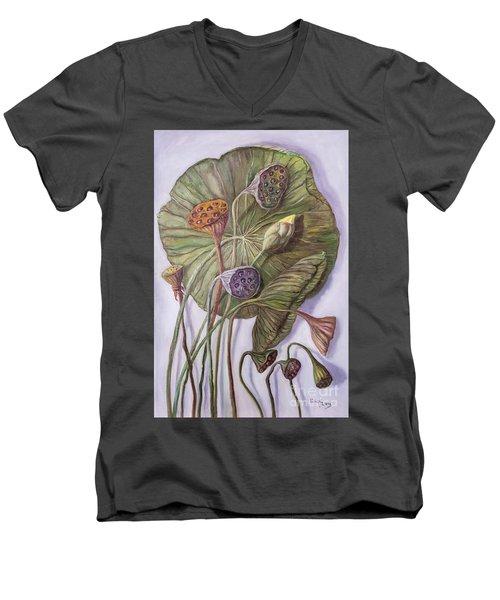 Water Lily Seed Pods Framed By A Leaf Men's V-Neck T-Shirt