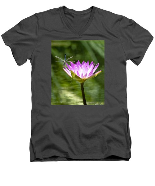 Men's V-Neck T-Shirt featuring the photograph Water Lily With Dragon Fly by Bill Barber