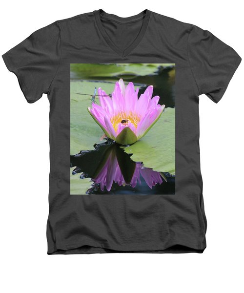 Water Lily With Dragon Fly Men's V-Neck T-Shirt