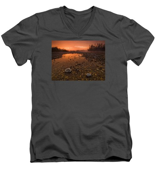 Water On Mars Men's V-Neck T-Shirt by Davorin Mance