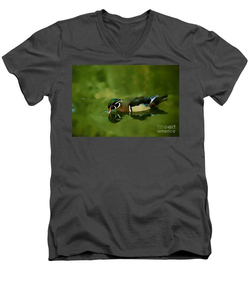 Male Wood Duck Water Reflections Men's V-Neck T-Shirt