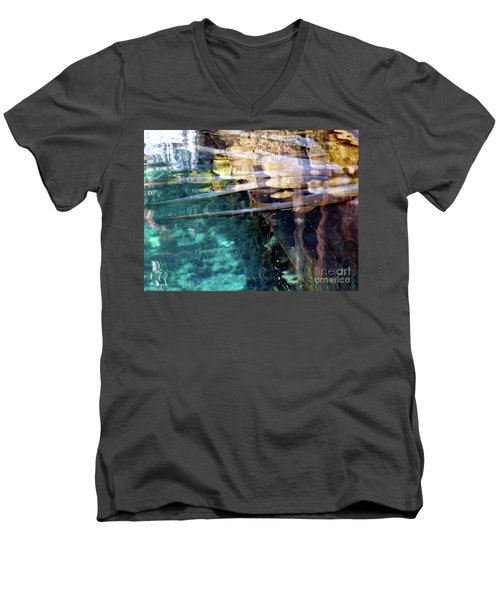 Men's V-Neck T-Shirt featuring the photograph Water Reflections by Francesca Mackenney
