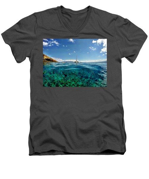 Water Shot Men's V-Neck T-Shirt by Michael Albright