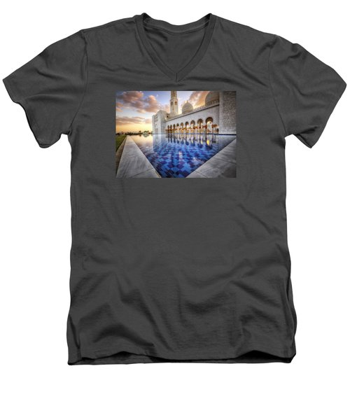 Water Sunset Temple Men's V-Neck T-Shirt by John Swartz