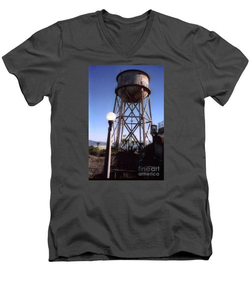 Water Tank Tower Alcartraz Men's V-Neck T-Shirt by Ted Pollard