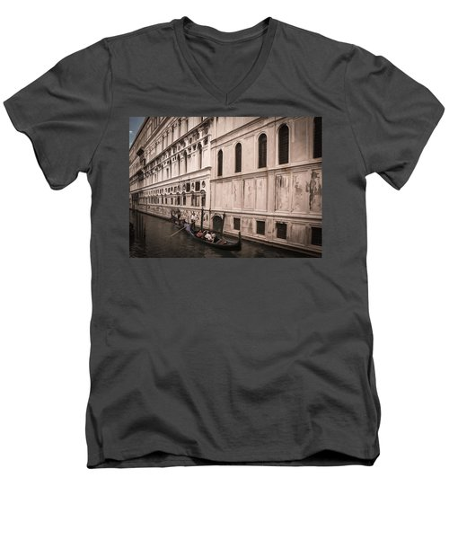 Men's V-Neck T-Shirt featuring the photograph Water Taxi In Venice by Kathleen Scanlan