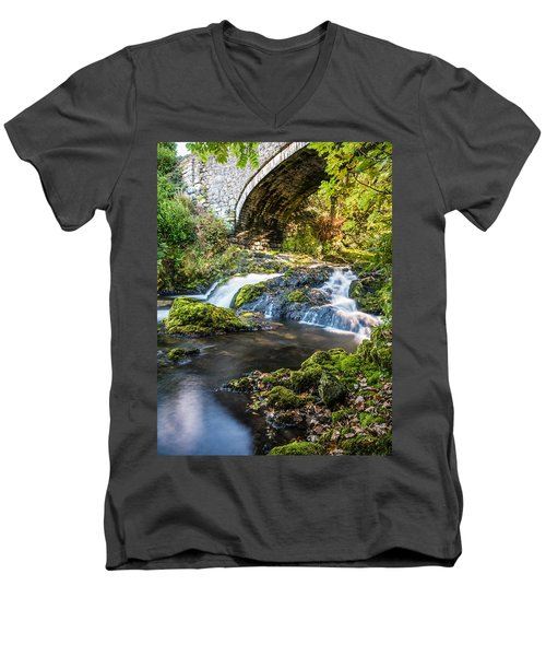 Men's V-Neck T-Shirt featuring the photograph Water Under The Bridge by Nick Bywater