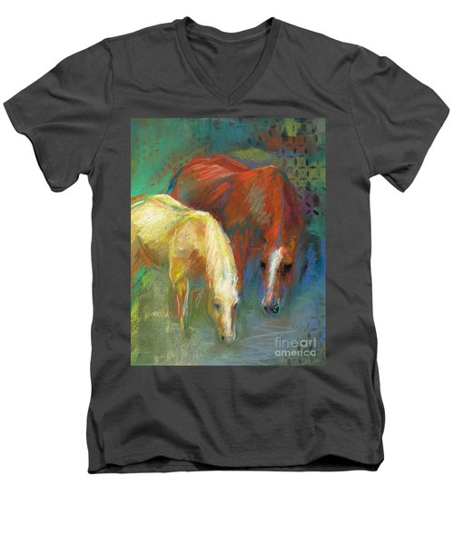 Men's V-Neck T-Shirt featuring the painting Waterbreak by Frances Marino