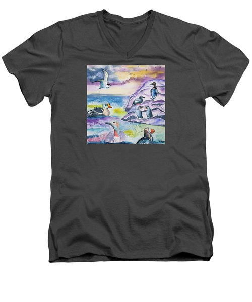 Watercolor - Alaska Seabird Gathering Men's V-Neck T-Shirt
