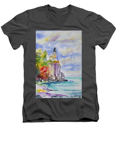 Watercolor - Autumn At Split Rock Lighthouse Men's V-Neck T-Shirt