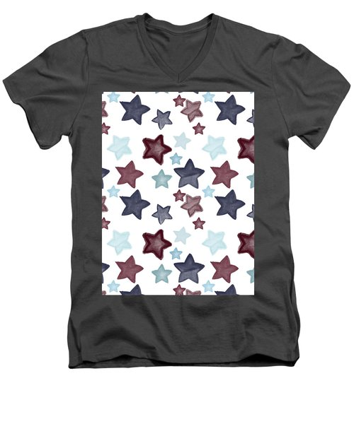 Watercolor Blue Red Stars Men's V-Neck T-Shirt by P S