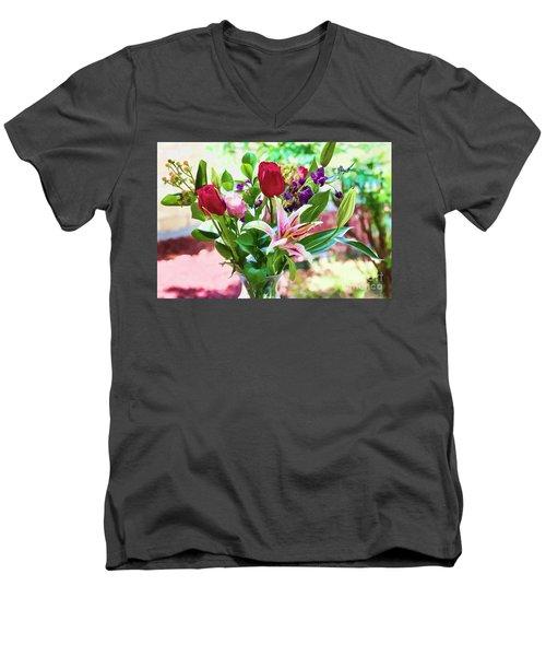 Watercolor Bouquet Men's V-Neck T-Shirt