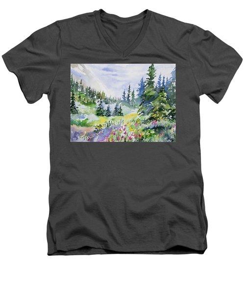 Watercolor - Colorado Summer Scene Men's V-Neck T-Shirt