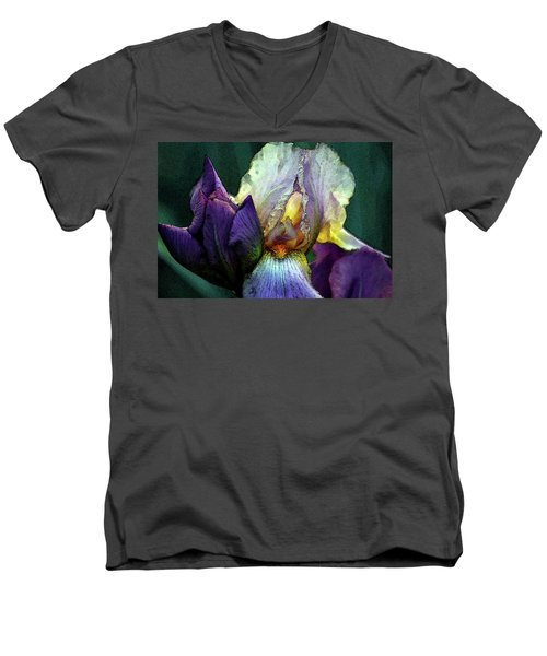 Watercolor Cream And Purple Bearded Iris With Bud 0065 W_2 Men's V-Neck T-Shirt