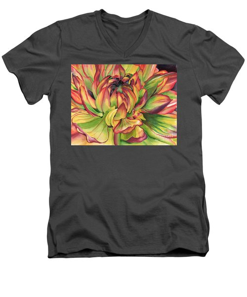 Watercolor Dahlia Men's V-Neck T-Shirt