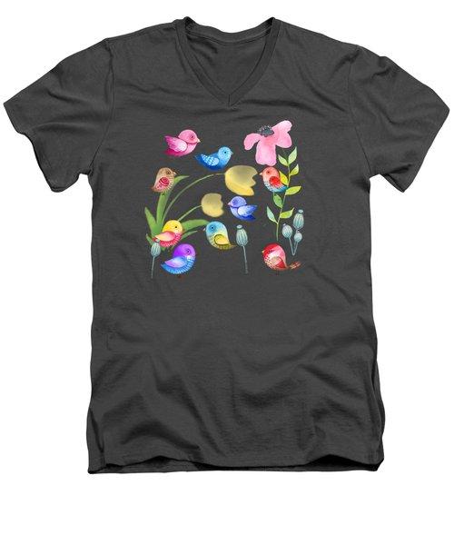 Watercolor Garden Party Men's V-Neck T-Shirt