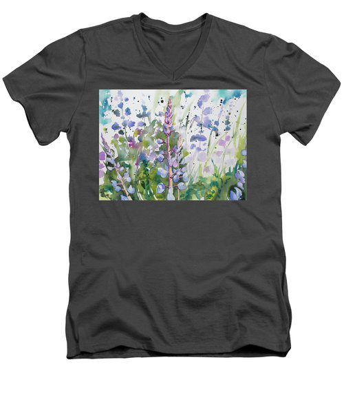 Watercolor - Lupine Wildflowers Men's V-Neck T-Shirt