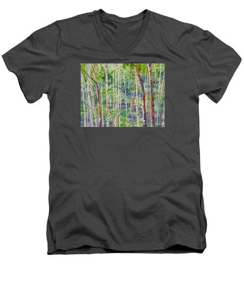 Watercolor - Magical Aspen Forest After A Spring Rain Men's V-Neck T-Shirt