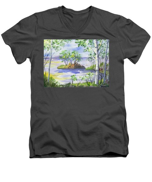 Watercolor - Minnesota North Shore Landscape Men's V-Neck T-Shirt