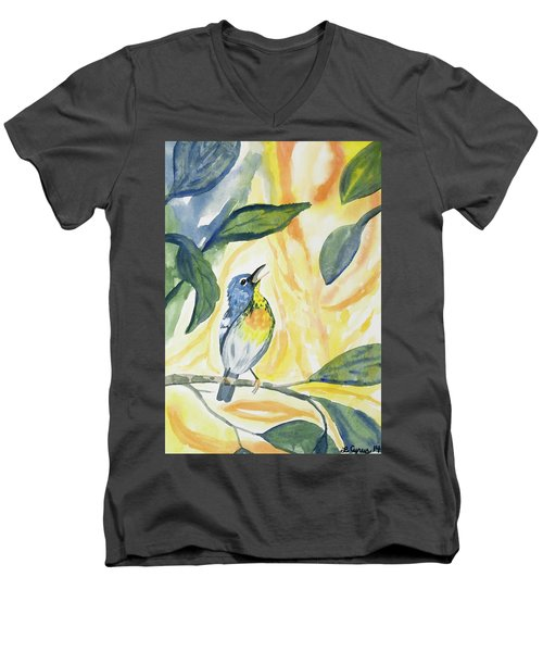 Watercolor - Northern Parula In Song Men's V-Neck T-Shirt