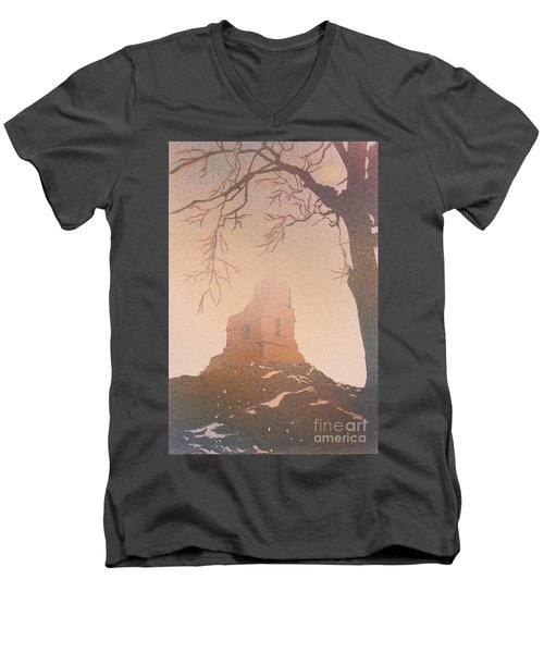 Men's V-Neck T-Shirt featuring the painting Watercolor Painting Of Mayan Temple- Tikal, Guatemala by Ryan Fox