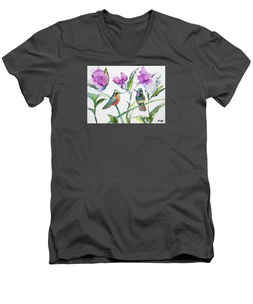 Watercolor - Purple-throated Mountain Gems And Flowers Men's V-Neck T-Shirt