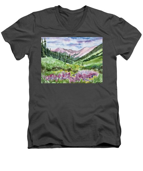 Watercolor - San Juans Mountain Landscape Men's V-Neck T-Shirt