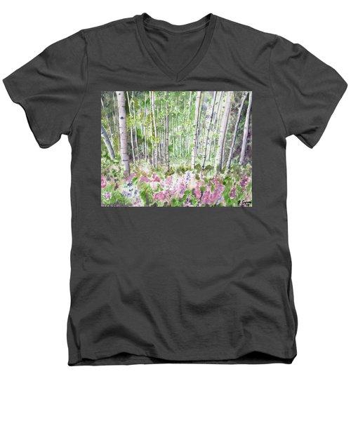 Watercolor - Summer Aspen Glade Men's V-Neck T-Shirt
