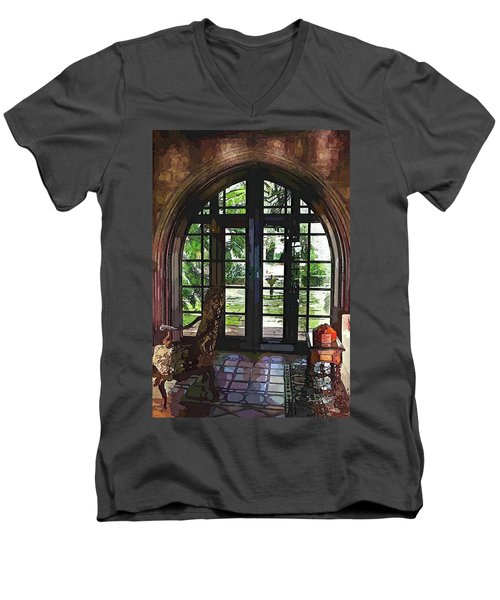 Watercolor View To The Past Men's V-Neck T-Shirt by Susan Molnar