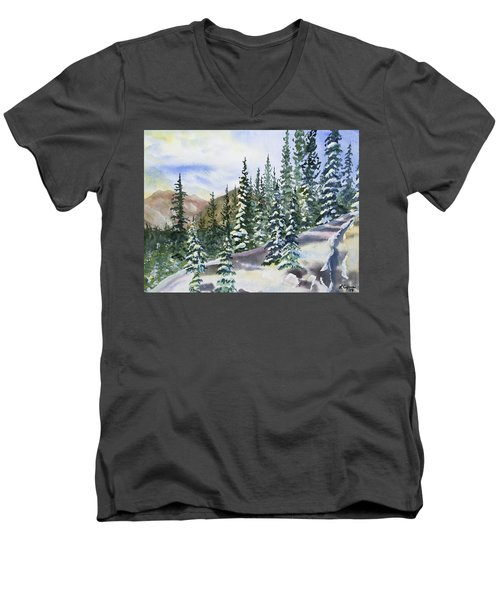 Watercolor - Winter Snow-covered Landscape Men's V-Neck T-Shirt