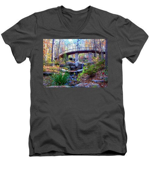 Waterfall And A Bridge In The Fall Men's V-Neck T-Shirt
