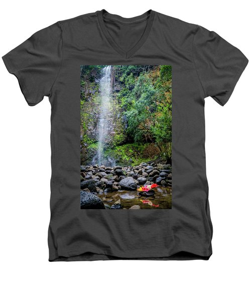 Waterfall And Flowers Men's V-Neck T-Shirt
