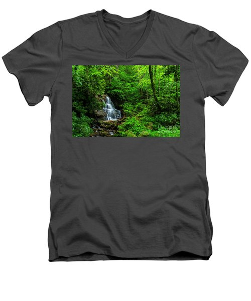 Waterfall And Rhododendron In Bloom Men's V-Neck T-Shirt