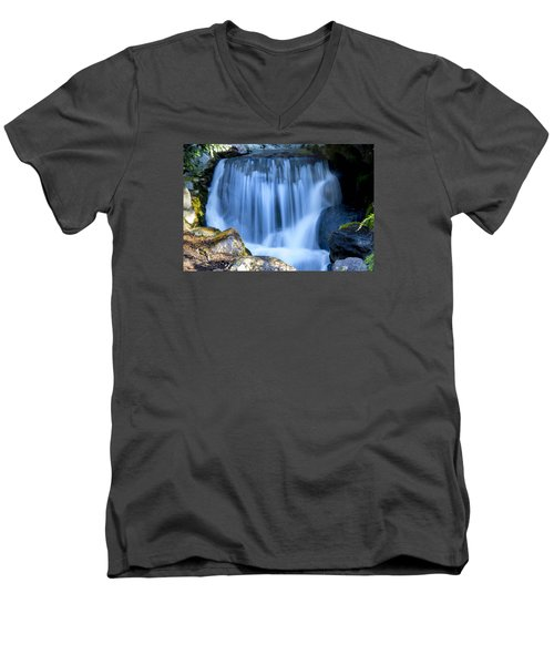 Waterfall At Dow Gardens, Midland Michigan Men's V-Neck T-Shirt by Pat Cook