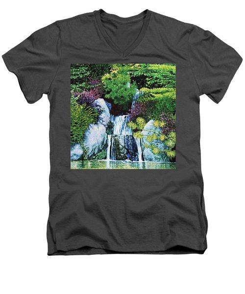 Waterfall At Japanese Garden Men's V-Neck T-Shirt