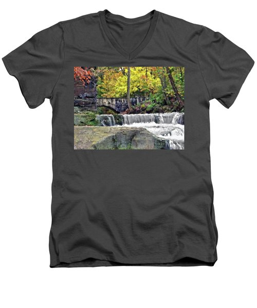 Waterfall At Olmsted Falls - 1 Men's V-Neck T-Shirt