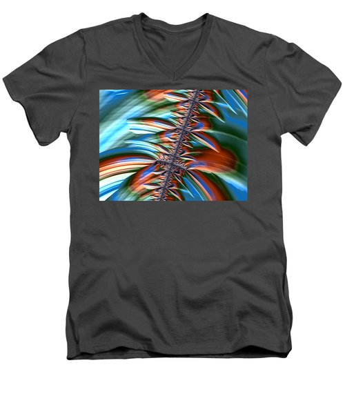 Men's V-Neck T-Shirt featuring the digital art Waterfall Fractal 2 by Bonnie Bruno