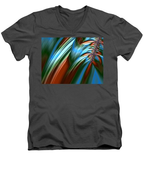 Men's V-Neck T-Shirt featuring the digital art Waterfall Fractal by Bonnie Bruno