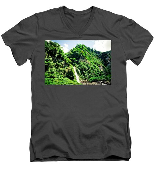 waterfall Himalayas mountains NEPAL Men's V-Neck T-Shirt
